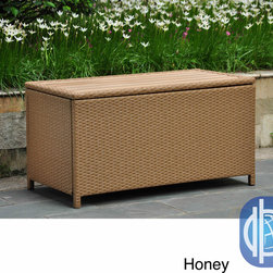 International Caravan - International Caravan Barcelona Resin Wicker/Aluminum Outdoor Storage Trunk - Keep your outdoor treasures safe with this contemporary storage trunk. A wicker construction and weather-resistant finish complete this storage trunk.
