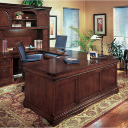 """DMi - Rue De Lyon Right Executive """"U"""" Desk Grommet Holes - Features: -Material: Maple solids, hardwoods.-Consists of a left single pedestal desk, right single pedestal credenza and a bridge.-All drawers are fully extending with black drawer slides.-Drop-front lap/keyboard drawer with removable pencil tray on both desk and credenza.-Felt-lined box drawer with pencil tray/box drawer with removable dividers/file drawer per pedestal.-Bottom box and file drawer are locking.-Four levelers per pedestal.-Cable grommet in pedestal ends.-Bridge has a drop-front lap/keyboard drawer.-Tops are constructed with cherry veneers on a chip core sub straight with hardwood parts and an NC lacquer finish top coat.-Rue De Lyon collection.-Distressed: No.-Collection: Rue De Lyon.Dimensions: -Single pedestal desk: 30'' H x 72'' W x 36'' D.-Single Pedestal Credenza: 30'' H x 72'' W x 24'' D.-Bridge: 30'' H x 48'' W x 24'' H.-Dimensions: 30'' H x 72'' W x 108'' D.-Overall Product Weight: 541 lbs.Assembly: -Assembly required."""