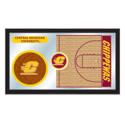 """Holland Bar Stool - Holland Bar Stool Central Michigan Basketball Mirror - Central Michigan Basketball Mirror belongs to College Collection by Holland Bar Stool The perfect way to show your school pride, our basketball Mirror displays your school's symbols with a style that fits any setting.  With it's simple but elegant design, colors burst through the 1/8"""" thick glass and are highlighted by the mirrored accents.  Framed with a black, 1 1/4 wrapped wood frame with saw tooth hangers, this 15""""(H) x 26""""(W) mirror is ideal for your office, garage, or any room of the house.  Whether purchasing as a gift for a recent grad, sports superfan, or for yourself, you can take satisfaction knowing you're buying a mirror that is proudly Made in the USA by Holland Bar Stool Company, Holland, MI.   Mirror (1)"""