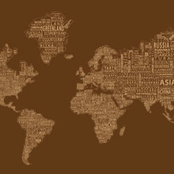 """1-World Text Map Wall Decal - Brown Mono - 67"""" x 36"""" - A modern and bold new world map! The 1-World Text Map Wall Mural features the continents of the world filled with the text of the country, city and place names, making it a modern and unique decorative map for your home or office. Available on a convenient peel & stick fabric. The peel & stick wall decal is printed on a high quality self-adhesive fabric material, making it easy to mount on any clean, smooth surface. It can be removed and repositioned with ease and without damage to the walls. A great way to give an interior space the impact of a mural without the mess and hassle of paste."""