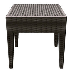 "Compamia - Miami Square Resin Side Table - Features: -Side table.-Material: Commercial grade resin.-Gas injection molded legs, with non-skid rubber caps.-Stackable for easy storage.-Weave design - not woven, not unravel.-Maintenance free.-Easy to keep clean.-Resistant to U.V, chlorine, salt, stains, suntan oils.-Perfect for heavy use in any indoor or outdoor areas.-Perfect for pool, beach and heavy use areas.-Wickerlook collection.-Under Table Storage Space: No.-Distressed: No.Dimensions: -18"" H x 18"" W.-Overall Product Weight: 6 lbs.Warranty: -1 Year limited warranty for commercial.-2 Years limited warranty for residential."