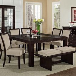 Karmon Stone Dining Room Collection - Boldly Contemporary. The Reese Karmon Stone collection has a strong sculptural style accompanied by a deep, dark finish, giving it a warm yet modern feel. The table features four matching beams as its base, each jutting from a different angle to create an interesting criss-cross effect. With a gently flared wooden frame, rich merlot finish and velvety soft gray fabric, each side chair melds compelling style with chic elegance effortlessly.