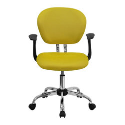 Flash Furniture - Flash Furniture Office Chairs Mesh Task Chairs X-GG-SMRA-LEY-F-6732-H - This value priced mesh task chair will accommodate your essential needs for your home or office space. This chair will add a splash of color to your office for a non-traditional look. Chair features a breathable mesh material with a comfortably padded seat. [H-2376-F-YEL-ARMS-GG]