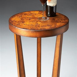 Butler - Pedestal Accent Table in Olive Ash Burl - Selected solid Woods, Wood products and choice veneers