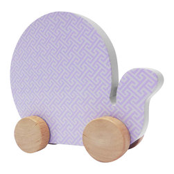 Studio BGD - Snail on Wheels - Made of MDF with real Oak Wood painted wheels, this item is pretty enough to sit on shelf and safe and functional enough to entertain little ones.   With little hands in mind, the elephant was designed wall chunky-ness to make it easy to hold and move.   The tiny trellis print in Blue Jay is perfect for a modern nursery.