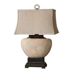 """Uttermost - Cumberland Sandstone Ceramic Table Lamp - Beaded Ceramic Base Finished In A Pale Sandstone With Dark Bronze Details. The Rectangle Bell Shade Is Khaki Linen Fabric With Natural Slubbing. Dimensions: 13""""W X 18""""D X 29.25""""H; Finish: Beaded Ceramic Base with a Pale Sandstone Finish and Dark Bronze Details; Bulbs: Uses Up To 150 Watt Bulbs (Not Included); Lampshade: Rectangular Bell Shade; Weight: 16 lbs; UL Approved"""