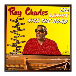 """Glittered Ray Charles Hit the Road Album - Glittered record album. Album is framed in a black 12x12"""" square frame with front and back cover and clips holding the record in place on the back. Album covers are original vintage covers."""