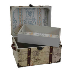Doll Steamer Trunk with Map - I love the vintage look of this doll steamer trunk. This high-quality piece has a tray for accessories, and storage below for the doll itself. Plus, the outside is covered with a vintage map paper design.
