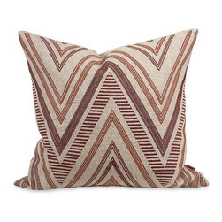 iMax - Iffat Khan Kamaria Embroidered Pillow with Down Insert - A funky chevron pattern adds warmth and interest to the Kamaria pillow that features deep red embroidered accents, a natural linen cover and down fill. Designed by Iffat Khan.