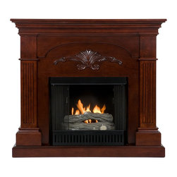 Holly & Martin - Holly & Martin Salerno Gel Fireplace - Finished with a classic mahogany stain, the elegance of this fireplace is ideal for enhancing your home's cozy appeal. Fluted columns on each side and a decorative scroll applique create one beautiful home accent. All of your guests are sure to marvel at such a wonderful centerpiece. Portability and ease of assembly are just two of the reasons why our fireplace mantels are perfect for your home. Requiring no electrician or contractor for installation allows instant remodeling without the usual mess or expense. In addition to your living room or bedroom, try moving this fireplace to your dining room for romantic dinners or complement your media room with a ventless fireplace below your flat screen television. Use this great functional fireplace to make your home a more welcoming environment.