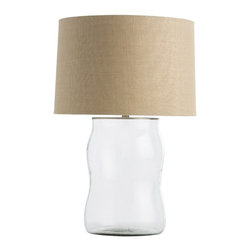 Arteriors - Arteriors Home - Malia Small Lamp - 44013-976 - The softly undulating clear glass Malia Lamp features a surface pattern that appears as if it has been hammered.The beige textured linen we used on the shade has natural knots and slubs inherent to the weave. A large flat nickel cap closes the top.
