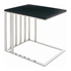 """Nuevo - El End Table - Features: -Polished stainless steel frame. -Top is MDF core with leather upholstery. -Overall dimensions: 21"""" H x 19.75"""" W x 15.75"""" D."""