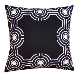 Squarefeathers - Black & White, Black Graphic Pillow - Black and White, Yin and Yang. The Black and White pillow collection will bring balance to your home decor. The print design is a faux linen applique and has a black rope trim. It has a soft and pump feataher/down insert inclosed with a zipper. Like all of our products, this pillow is handmade, made to order exclusively in our studio right here in the USA.