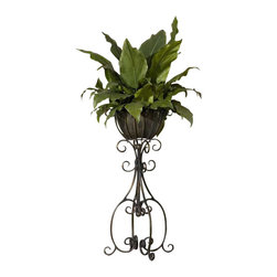 Uttermost Costa Del Sol Potted Greenery - Lush and vibrant tropical foliage potted in a scrolled, hand forged iron pedestal in burnished, copper bronze finish with removable planter insert. Lush and vibrant tropical foliage potted in a scrolled, hand forged iron pedestal in burnished, copper bronze finish with removable planter insert.