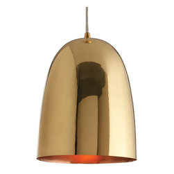 """Arteriors - Arteriors Savoy Large Polished Brass Pendant - Simple in design, the large Savoy pendant by Arteriors lends modern glamour in polished brass. The hanging light's minimalist bell-shaped design makes it a sleek complement to modern and transitional decor. 9.5"""" Dia X 12""""H; Brass; Copper plated interior; 25W bulb (not included)"""