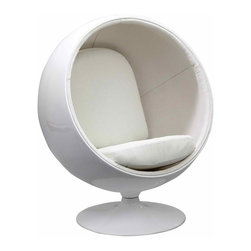 MODERN BALL SHAPED WHITE LOUNGE CHAIR INSPIRED BY EERO AARNIO DESIGN - MODERN BALL SHAPED WHITE LOUNGE CHAIR INSPIRED BY EERO AARNIO DESIGN