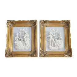 Antique Victorian Porcelain Placques - A Pair - A pair of Victorian scenes with white porcelain three-dimensional garden scenes on light blue backgrounds. Frames are gold gilt over an ornate carved frame, small loss of gilding on bottom of  frames. They can be touched up with gilding paint.