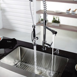 Kraus - Chrome Pull Out Sprayer Kitchen Faucet & Soap - Update the look of your kitchen with this multi-functional Kraus pull-out faucet. Kraus kitchen faucet blends quality and durability with elegance and style. Faucet. Faucet is constructed from solid brass with stunning triple plated chrome finish. Solid brass body and commercial pull-down pre-rinse spray on spiral spring. Contains Sedal drip-free ceramic cartridge. Spring aerated flow powerful spray with integrated water hammer arrestor. Single-lever side mixer. Spring-tensioned retractable hose. Spout swivels 360-degrees. Hermetically sealed with adjustable temperature and flow rate limitation. Single-lever water and temperature control. Single-hole, top-mount installation. Water pressure tested for industry standard. Standard US plumbing connections. 2.2 GPM flow rate. Installation in a 1.375-inch hole. All mounting hardware and hot/cold waterlines are included. Faucet height (overall): 28.5 inches. Spout reach: 9.5 inches. Hose measures 28 inches long. 5 Years Limited Manufacturer Warranty. Soap Dispenser. Soap Dispenser is constructed from solid brass with stunning triple plated chrome finish. Easy-push, self-priming pump. Swivels 360 degrees. Refillable from above. Holds 14 ounces of liquid. Measures 2.1 inches high x 3.5 inches deep. Requires 1.25-inch hole. Limited Lifetime WarrantyInstruction Manual