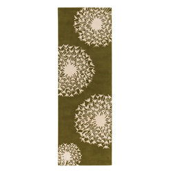 """Chandra - Contemporary Thomaspaul Hallway Runner 2'6""""x7'6"""" Runner Green-White Area Rug - The Thomaspaul area rug Collection offers an affordable assortment of Contemporary stylings. Thomaspaul features a blend of natural Green-White color. Hand Tufted of New Zealand Wool the Thomaspaul Collection is an intriguing compliment to any decor."""