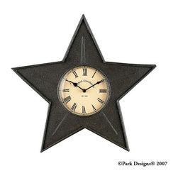 Black Metal Star Wall Clock -