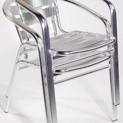 Euro Style - Sadie Stacking Aluminum Outdoor/Indoor Chairs - Replace those tacky plastic patio chairs with new, durable, and sophisticated stacking chairs. The frame seat and back are all constructed of polished aluminum, making them beautiful to look at and sturdy to sit in. Chairs stack easily for storage when not in use or during the of season. Sold in sets of six. The finish is chromed for rugged durability in outdoor spaces. * Sadie Stacking Aluminum Outdoor/Indoor Chairs - Set of Six. Polished Aluminum Frame, Seat & Back. Stackable. Comes Fully Assembled. Only sold in sets of six. Packed 6 per box.. 22.5in W x 24in D x 28.5in H. Seat: 17in H x 17.5in W