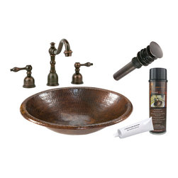 """Premier Copper Products - Premier Copper Products BSP2_LO17RDB 17"""" Self Rimming Copper Sink Package - Premier Copper Products BSP2_LO17FDB 17"""" Under Counter Copper Sink Package"""