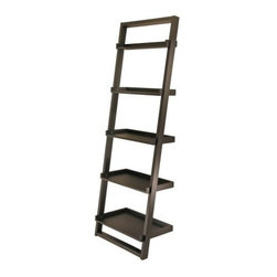 Winsome Wood - Bailey Leaning Shelf, 5-Tier - Our Bailey Leaning a modern design shelf that is leaning against to the wall. Neat and simply design yet functioning. It can also be matched with leaning desk and airlift stool.