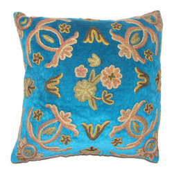 Crewel Fabric World - Crewel Pillow Art Nouveau Sea BLue Cotton Velvet 16x16 Inches - Hand embroidered with 100% wool on cotton base  Backed in solid-color canvas * Insert is sold separately�ۢ Hidden zipper �ۢ Dry-clean Recommended. Machine Washable �ۢ Handmade in Kashmir