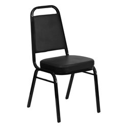 Flash Furniture - Hercules Series Trapezoidal Back Stacking Banquet Chair with Black Vinyl - This is one tough chair that will withstand the rigors of time. With a frame that will hold in excess of 500 lbs., the Hercules Series Banquet Chair is one of the strongest banquet chairs on the market. You can make use of banquet chairs for many kinds of occasions. This banquet chair can be used in Church, Banquet Halls, Wedding Ceremonies, Training Rooms, Conference Meetings, Hotels, Conventions, Schools and any other gathering for practical seating arrangements. The banquet chair is also great for home usage from small to large gatherings. For any environment that you use a banquet chair it will put your guests at a greater comfort level with the padded seat and back. Another advantage is the stacking capability that allows you to move the chairs out of the way when not in use. With offerings of comfort and durability, you can be assured that you can enjoy this stacking banquet chair for years to come.
