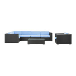 Modway Furniture - Modway Corona 7 Piece Sectional Set in Espresso Light Blue - 7 Piece Sectional Set in Espresso Light Blue belongs to Corona Collection by Modway Stages of sensitivity flow naturally with Corona's robust seating experience. Find meaning among cliffs and caverns as you become the agent of influence in the espresso rattan base and all-weather light blue fabric cushion repast. Open yourself to splendorous insights as you impart positivity among friends and family. Set Includes: One - Corona Outdoor Wicker Patio Armchair One - Corona Outdoor Wicker Patio Coffee Table One - Corona Outdoor Wicker Patio Corner Section One - Corona Outdoor Wicker Patio Left End Section One - Corona Outdoor Wicker Patio Right End Section Two - Corona Outdoor Wicker Patio Armless Sections Armchair (1), Coffee Table (1) , Corner Section (1), Left End Section (1), Right End Section (1), Armless Section (1)