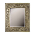 Design Craft - Purdy Gold Leaf/ Silver Wall Mirror - Flirty flourishes dance around a wide gilded antique silver framed masterpiece reflecting old world glamor and style. The Purdy wall mirror features 38-inch height and a wood frame construction,making it the perfect accent.
