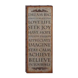 UMA - Words of Wisdom Wall Plaque - Words of inspiration are combined with beautifully scrolled designs and a vintage finish in the wood and metal panel.