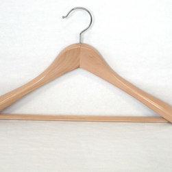 Proman Products - Taurus Wide Shoulder Suit Hanger - Taurus Wide Shoulder Suit Hanger with PVC Ribbed Bar, suitable for heavy coat and suits, Natural wood finish, 12 pcs/case