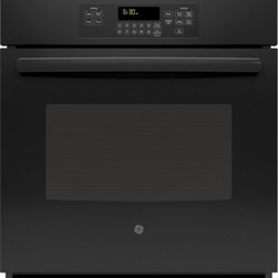 "GE - JK3000DFBB 27"" 4.3 cu. ft. Capacity Built-In Single Wall Oven With Self-Clean He - Your GE 27 in Electric Wall Oven with black gloss hidden bake interior offers you the option of a deep self-clean oven or light Steam Clean providing a great appearance and easy clean-up And our 8-pass broil element provides even browning from edge t..."