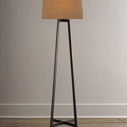 Horchow - Four-Toe Floor Lamp - A bit modern, a bit contemporary, slightly industrial—this sleek floor lamp puts light where you need it without overpowering the room. We especially like the balanced symmetry of its four-legged base and square shade. Made of metal. Rustic black...