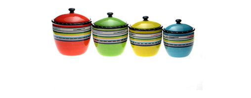 Certified International - Certified International 'Santa Fe' 4-piece Canister Set - Store your foodstuff in contemporary style with this four-piece ceramic canister set from Certified International. The Santa Fe design features vibrant hues,ensuring that they will add a colorful complement to many kitchen decor schemes.