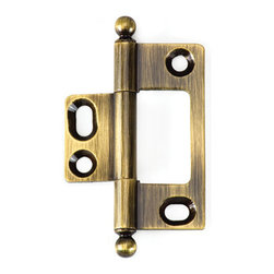 BH2A-NM-AE-BALL solid brass inset cabinet hinge - Cliffside's non-mortising cabinet hinges are available in several styles. Each hinge leaf is made with superior craftsmanship, extruded from a single piece of solid brass for added durability. The decorative barrel of the hinge shows on the outside of the door, which adds a splash of color to your cabinet door. This 2-inch hinge is finished in golden Antique English, one of 15 available colors, and features our ball-tip finial.