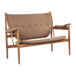 #N/A - The Sterling Love Seat - Brown - The Sterling Love Seat - Brown. The Sterling Love Seat is made of American Ash stained in Walnut color and fabric. This will be a statement piece in your home as well as the best seat in the house.