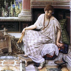 "Sir Edward John Poynter Chloe, Dulces Docta Modos Print - 18"" x 24"" Sir Edward John Poynter Chloe, Dulces Docta Modos et Citharae Sciens premium archival print reproduced to meet museum quality standards. Our museum quality archival prints are produced using high-precision print technology for a more accurate reproduction printed on high quality, heavyweight matte presentation paper with fade-resistant, archival inks. Our progressive business model allows us to offer works of art to you at the best wholesale pricing, significantly less than art gallery prices, affordable to all. This line of artwork is produced with extra white border space (if you choose to have it framed, for your framer to work with to frame properly or utilize a larger mat and/or frame).  We present a comprehensive collection of exceptional art reproductions bySir Edward John Poynter."