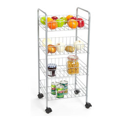 JA Marketing - Metal Four-Tier Basket Trolley - With smooth rolling casters that make it easy to move from room to room, this four-tiered trolley is ready to provide a storage solution wherever it's need.   15.5'' W x 34'' H x 13'' D Chrome Imported