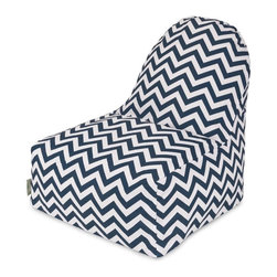 Majestic Home Goods - Navy Chevron Kick-It Chair - This Majestic Home Goods Chevron Kick-It Chair will add style and functionality to your living room, dorm room or outdoor patio. This beanbag Chair has the design of modern furniture, while still giving the comfort of a classic bean bag. Woven from outdoor treated polyester, these loungers are durable yet comfortable. The beanbags are eco-friendly and feature a removable zippered slipcovers. Spot clean with mild detergent and hang dry. Do not wash insert.