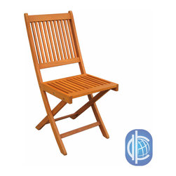 International Caravan - International Caravan Royal Tahiti Folding Chairs (Set of 2) - The durable folding dining chairs by Royal Tahiti come in a set of two chairs crafted from yellow Balau wood. The folding chairs can easily be closed and stored when not in use. Balau wood is very durable, dense and oil-rich so is safe for use outdoors.