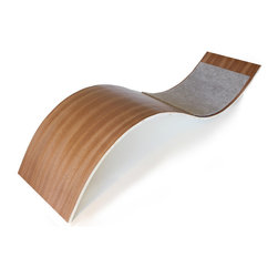 """Davies Decor - Oscar Cat Rest - Inspired by the great Neo-Futurist designers and architects of the mid to late 20th century, the graceful, simple curve of the Oscar Cat Rest gives your cat multiple ways to comfortably curl up or stretch out. A cat can stretch over the large curve, curl up and snooze against the gentle slopes of the carpeted smaller curve or just settle in underneath. Finished in African sapele veneer over molded plywood and carpeted using material made of 100% post consumer plastic, the Oscar Cat Bed pays homage to the beautiful organic architecture of Eero Saarinen, John Lautner and Oscar Niemeyer who famously said,""""Right angles don't attract me."""""""