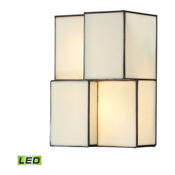 Elk Lighting - Elk Lighting Cubist Collection 2 Light Sconce In Brushed Nickel  - 72060-2-LED - 2 Light Sconce In Brushed Nickel  - 72060-2-LED in the Cubist collection by Elk Lighting Cubes of tiffany glass are assembled into a structure of offsetting staggered cubes, creating an innovative textural expression.  With hardware finished in Brushed Nickel, this series comes with a choice of white or limited edition dusk sky tiffany glass.   Wall Sconce (1)