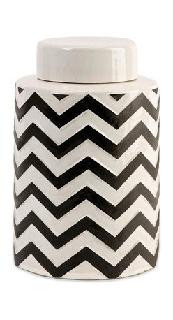 Black and White Chevron Small Canister Jar w/ Lid - *The most popular twist on stripes covers this small lidded canister that looks great in a variety of spaces.