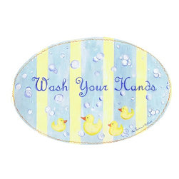 Stupell Industries - Wash Your Hands with Rubber Duckies Oval - Made in USA. Hand finished and packed. Approx. 11 in. H x 15 in. W. 0.5 in. ThickThe Kids Room by Stupell features exceptional handcrafted wall decor for children of all ages.  Using original art designed by in-house artists, all pieces feature hand painted and grooved borders as well as colorful grosgrain ribbon for hanging.  Made in the USA, everything found in The Kids Room by Stupell exudes extraordinary detail with crisp vibrant color. Whether you are looking for one piece to match an existing room's theme, or looking for a series to bring the kid's room to life, you will most definitely find what you are looking for in The Kids Room by Stupell.
