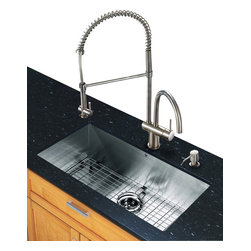 Vigo Industries - 9.88 in. Kitchen Sink and Faucet Set - Includes soap dispenser, matching bottom grid and sink strainer