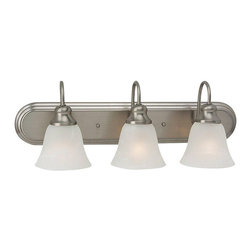 Sea Gull Lighting - Windgate 3-light Brushed Nickel Vanity Light - This Windgate vanity light features a beautiful brushed nickel finish with alabaster glass shades. This versatile light can be mounted in both the up and down positions, making it perfect for any decor.