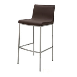 Nuevo Living - Colter Mink Leather Bar Stool by Nuevo - HGAR284 - The Colter modern stool in mink leather adds modern elegance to any space. This contemporary bar stool can make its home at your kitchen bar, abar table, or anywhere else stylish seating is needed. Available in your choice of leather color complemented by a high polish steel frame, this piece will definitely complement any home decor. Your guests and other visitors are sure to be impressed with the sleek, modern style of this chic bar stool. With its contemporary design and modern style, the Colter modern stool will surely be an enchanting home addition for years to come.  Available in dark grey, ochre, mink, white, and black leather