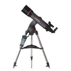 "Celestron NexStar 102 SLT Telescope - Designed to be an affordable entry-level to mid-level computerized GOTO telescope the Celestron NexStar SLT 102 Refractor is loaded with valuable design features. With pre-assembled adjustable stainless steel tripods and quick-release fork arms and tubes the NexStar SLT telescope can be set up in a matter of minutes - no tools required! You'll see details of the lunar surface Venus and its phases Mars resolved as an orange disc Jupiter and four moons Saturn with rings plainly visible and much more! NexStar SLT refractors like the 102 SLT can also be used as land-based spotting scopes. Intelligent Design Powered by 8 AA user=supplied batteries an optional AC adapter optional car-battery adapter or powertank power source these NexStar GOTO's love to travel. The internal battery compartment provides power to the high precision servo motors for rigid low-vibration performance while eliminating cord wrap issues associated with external battery packs. With the NexStar SLT's ergonomically engineered hand controller the user is free to remove the hand control from its holder for remote use or leave it cradled for hands-free operation. With a touch of a button you can select the object catalog change the slew speed view fascinating information about an object or simply find out whether a desired object is visible in the sky. Standard Features & Accessories Computerized hand controller with 4000-plus-object database Quick-release fork-arm mount optical tube and accessory tray for quick set-up Comes with """"The Sky"""" Level 1 planetarium software and NSOL telescope control software for controlling the telescope via computer; requires the optional Celestron Computer Cable Internal battery compartment to prevent cord wrap during use Sturdy stainless steel tripod Auxiliary port for additional accessories such as an optional GPS accessory Motorized altazimuth mount and fully computerized hand controller US and International city database for easy location settings Flash upgradeable hand-controller software and motor-control unit About Celestron Refractor Telescopes Celestron's high-quality refractor telescopes allow beginners to improve upon Galileo's vision with a simple reliable design that is easy to use requires minimal maintenance and is versatile enough for land or sky viewing. Known for viewing planetary detail and splitting close double-stars. A refractor telescope uses a lens as the primary. The lens at the front of the telescope bends the light passing through it until it comes to a single point called the ""focal plane"". The long thin tubes of refractor telescopes look much the same as those Galileo used centuries ago. High quality optical glass and multi-coatings provide today's sky watchers views Galileo never dreamed of. The refractor type of telescope is very popular with individuals who want mechanical simplicity rugged reliability and ease of use. Because the focal length is limited by the length of the tube refractor telescopes become quite bulky and expensive beyond a four inch aperture. This limits the light gathering properties of refractor telescopes but it is an excellent choice for beginners and those who prefer simple operation and versatility. Refractor telescopes are also a popular choice because of their unobstructed view high contrast and good definition. Refractor Advantages Easy to set-up and use Simple and reliable design requires little or no maintenance Excellent for lunar planetary and binary star observing especially in larger apertures Good for terrestrial viewing High contrast images with no secondary mirror or diagonal obstruction Color correction is good in achromatic designs and excellent in apochromatic and fluorite designs Sealed optical tube reduces image-degrading air currents and protects optics Objective lens is permanently mounted and aligned Refractor Disadvantages More expensive per inch of aperture than Newtonians or Catadioptrics Heavier longer and bulkier than equivalent aperture Newtonians and Catadioptrics The cost and size factors limit the practical maximum size primary to smaller apertures Some color aberration in achromatic designs (doublet)"